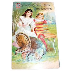 Vintage Postcard: Best Wishes For A Happy Thanksgiving