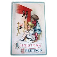 B&S: Christmas Greetings:  Children In Front Of Fireplace Postcard - 1913