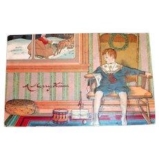Merry Xmas: Little Boy Watching Santa Claus Through The Window Postcard