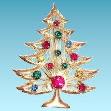 Brooks Rhinestone Christmas Tree Pin - Signed
