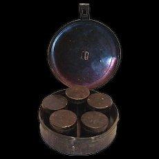 Vintage Black Tin Spice Case & Spice Tins