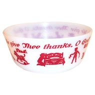 Hazel Atlas Children's: We Give Thee Thanks, O God! Cereal Bowl