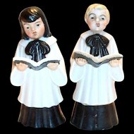 Vintage Ucago Hand Painted Porcelain Christmas Caroler Figurines