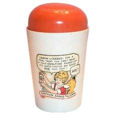 Vintage 1930's Ovaltine Little Orphan Annie Plastic Shake-Up Mug