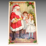 Christmas Greetings: Santa With Little Girls Postcard