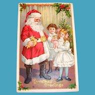 Christmas Greetings: Santa With Little Girls Postcard