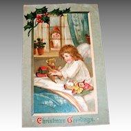 """Christmas Greetings"" Santa Claus Watching Little Girl Postcard - 1911"