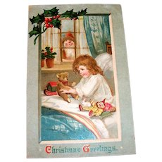 """Christmas Greetings"" Santa Claus Watching Little Girl Postcard - 1911"
