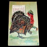 "Raphael Tuck: Thanksgiving Day: I'm Going Traveling"" Turkey Leaving Town Postcard"