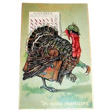 "Raphael Tuck: Thanksgiving Day: I'm Going Traveling"" Turkey Leaving Town Postcard"
