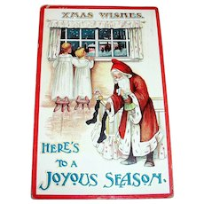 Santa Claus: Xmas Wishes, Here's To A Joyous Season, Santa Claus Postcard -1911
