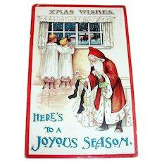 Santa Claus: Xmas Wishes, Here's To A Joyous Season, Santa Claus Postcard -1911