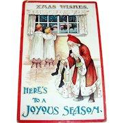 Xmas Wishes, Here's To A Joyous Season, Santa Claus Postcard -1911