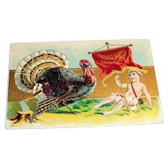 Thanksgiving Greetings Postcard (Boy Holding Banner & Turkey)