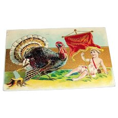 Thanksgiving Greetings Postcard (Boy Holding Banner & Turkey)