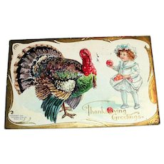 NAF Co.: Thanksgiving Greetings Postcard (Little Girl Feeding Apples To Turkey)