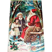 A Merry Christmas (Santa Claus Sitting On Bench) Postcard