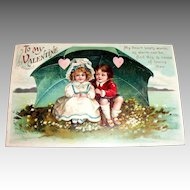 "Int'l Art Publisher's: ""To My Valentine"" Boy & Girl Under Umbrella Valentine Postcard"