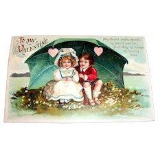 """Int'l Art Publisher's: """"To My Valentine"""" Boy & Girl Under Umbrella Valentine Postcard"""