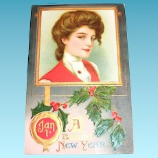 Vintage A Bright New Year Postcard
