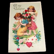 To My Valentine Postcard (Little Girls Picking Flowers)-Germany