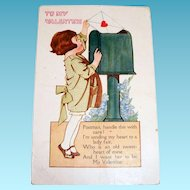 To My Valentine (Little Girl Mailing A Valentine) Postcard