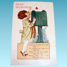 To My Valentine (Little Girl Mailing A Valentine) Postcard