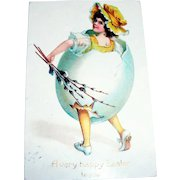 A Very Happy Easter To You Postcard (Renaissance Girl in Egg)