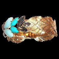 Marquis Rhinestone & Gold Tone Leaf Design Cuff Bracelet