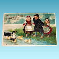 MAB: A Joyful Easter (Dutch Children & Ducks) Postcard