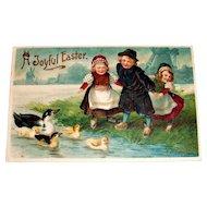 MAB: A Joyful Easter (Dutch Children & Ducks) Postcard