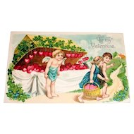 """To My Valentine"" Cupid Selling Hearts Postcard"