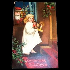 International Art: Christmas Greetings Postcard (Santa Watching Watching Girl)