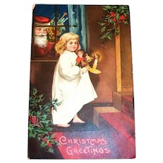 International Art: Christmas Greetings Postcard (Santa Watching Watching Girl)