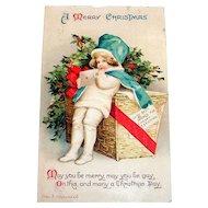 Int'l Art Publ. Co.: A Merry Christmas Postcard Signed Ellen H. Clapsaddle
