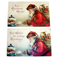 "Two ""Best Christmas Wishes"" Vintage Santa Claus & Child Postcards - 1908 & 1907"