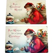 """Two """"Best Christmas Wishes"""" Vintage Santa Claus & Child Postcards - 1908 & 1907"""