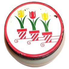 Fire King Tulips Ivory Glass Grease Jar With A Screw-On Tin Lid