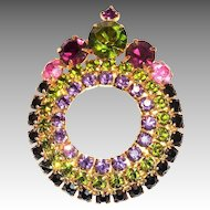 Dark Amethyst, Green, & Pink Crown Top Style Round Glass Rhinestone Pin