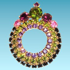Dark Amethyst, Green, & Pink Crown Top Style Round Glass Rhinestone Pin