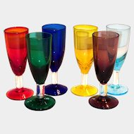 6 Pc Set Of Brightly Colored Stemmed  Wine Glasses