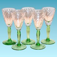 Clear Swirl Design On Green Stemmed Liqueur Glass