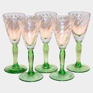 Clear Swirl Design On Green Stemmed Liqueur Glass