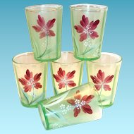 Lightly Wide Ribbed & Lt Green Frosted & Hand Painted Floral Tumbler