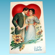 ABS: To My Valentine Postcard (Couple In Front Of Heart)