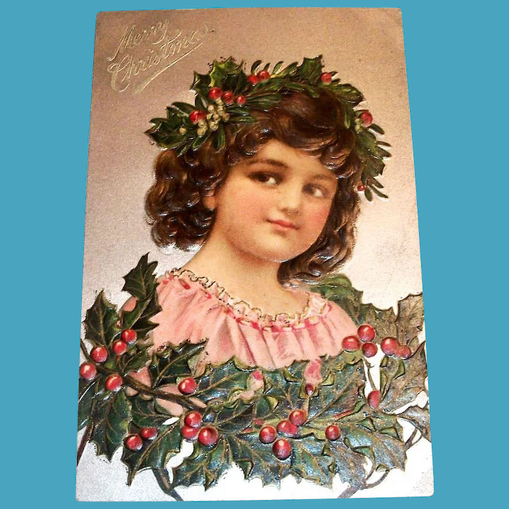 Christmas With Holly.Vintage Merry Christmas Postcard Girl With Holly Crown
