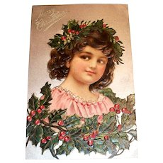 Vintage Merry Christmas Postcard (Girl With Holly Crown)