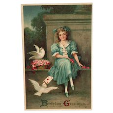 MAB: Birthday Greetings Postcard (Girl with Doves)