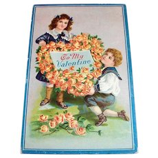 To My Valentine Postcard (Children with Flower Heart Wreath Design)