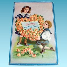 To My Valentine Postcard (Children with Flower Heart Wreath Design)